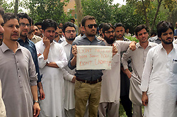 June 15, 2017 - Pakistan - PESHAWAR, PAKISTAN, JUN 15: Members of Young Doctors Association (YDA) are .holding protest demonstration for acceptance of their demands, at Hayatabad Medical Complex .in Peshawar on Thursday, June 15, 2017. (Credit Image: © PPI via ZUMA Wire)