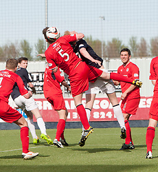 Raith Rovers Dougie Hill holds back Falkirk's Mark Beck.<br /> Falkirk 2 v 1 Raith Rovers, Scottish Championship game played today at The Falkirk Stadium.<br /> © Michael Schofield.