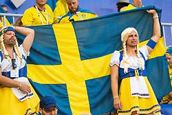 July 7, 2018 - Samara, RUSSIA - 180707 Fans of Sweden looks dejected after loosing the FIFA World Cup quarter final match between Sweden and England on July 7, 2018 in Samara..Photo: Joel Marklund / BILDBYRÃ…N / kod JM / 87755 (Credit Image: © Joel Marklund/Bildbyran via ZUMA Press)