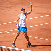 PARIS, FRANCE June 1.  Ashleigh Barty of Australia celebrates her victory against Bernarda Pera of the United States on Court Philippe-Chatrier during the first round of the singles competition at the 2021 French Open Tennis Tournament at Roland Garros on June 1st 2021 in Paris, France. (Photo by Tim Clayton/Corbis via Getty Images)