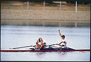 Sydney. AUSTRALIA. 2000 Summer Olympic Regatta, Penrith. NSW.  <br /> <br /> GER W2X. Gold  medalist: Bow. THIEME, Jana and BORON, Kathrin. Silver medalist NED W2X. Bow. VAN DISHOECK, Pieta<br /> and VAN NES, Eeke.<br /> <br /> [Mandatory Credit Peter SPURRIER/ Intersport Images] Sydney International Regatta Centre (SIRC) 2000 Olympic Rowing Regatta00085138.tif