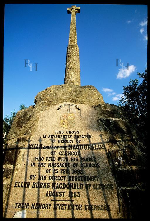 Monument recalls the Glencoe Massacre of Feb 13, 1692 when royal soldiers slaughtered the MacDonald clan; Glencoe, Scotland.