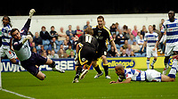 Photo: Leigh Quinnell.<br /> Queens Park Rangers v Cardiff City. Coca Cola Championship. 18/08/2007. Cardiffs Steven MacLean rushes to congratulate Paul Parry on his goal.
