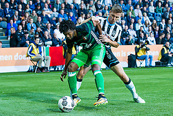 (L-R) Miguel Nelom of Feyenoord, Tim Breukers of Heracles Almelo during the Dutch Eredivisie match between Heracles Almelo and Feyenoord Rotterdam at Polman stadium on September 09, 2017 in Almelo, The Netherlands