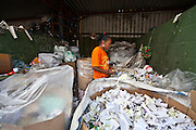 Belo Horizonte_MG, Brasil...Catadora de papel trabalhando na ASMARE (Associacao dos Catadores do Papel Papelao e Material Reaproveitavel)...A paper collector working in ASMARE (Association of Collectors of Paper Cardboard and Reusable Material)...Foto: JOAO MARCOS ROSA / NITRO