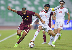 Masoud Shojaei (R) of Iran vies for the ball with  Salom—n Rond—n (L) of Venezuela during the international friendly soccer match between Iran and Venezuela at Al Ahli Stadium Doha, Capital of Qatar, November 20, 2018. The match ended with a 1-1 draw. (Credit Image: © Nikku/Xinhua via ZUMA Wire)
