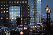 Buses and cars queue on London Bridge during the evening rush-hour, on 7th November 2018, in London, England.