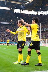 05.11.2011, Signal Iduna Park, Dortmund, GER, 1. FBL, Borussia Dortmund vs. VfL Wolfsburg, im Bild Jubel Mario Goetze (#11 Dortmund) und Shinji Kagawa (#23 Dortmund) nach dem 2-0 // during Borussia Dortmund vs. VfL Wolfsburg at Signal Iduna Park, Dortmund, GER, 2011-11-05. EXPA Pictures © 2011, PhotoCredit: EXPA/ nph/  Kurth       ****** out of GER / CRO  / BEL ******