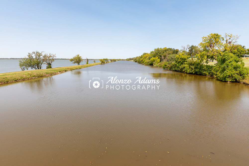 Lake Overholser Dam and the Lake Overholser area on the western sides of Oklahoma City on October 2, 2020. Photo copyright © 2020 Alonzo J. Adams.