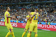 Romania Forward Bogdan Stancu celebrates the equalising goal during the Group A Euro 2016 match between France and Romania at the Stade de France, Saint-Denis, Paris, France on 10 June 2016. Photo by Phil Duncan.