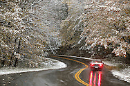 Middletown, NY - A car drives down a winding road as falling snow covers the trees during a storm on Oct. 15, 2009.