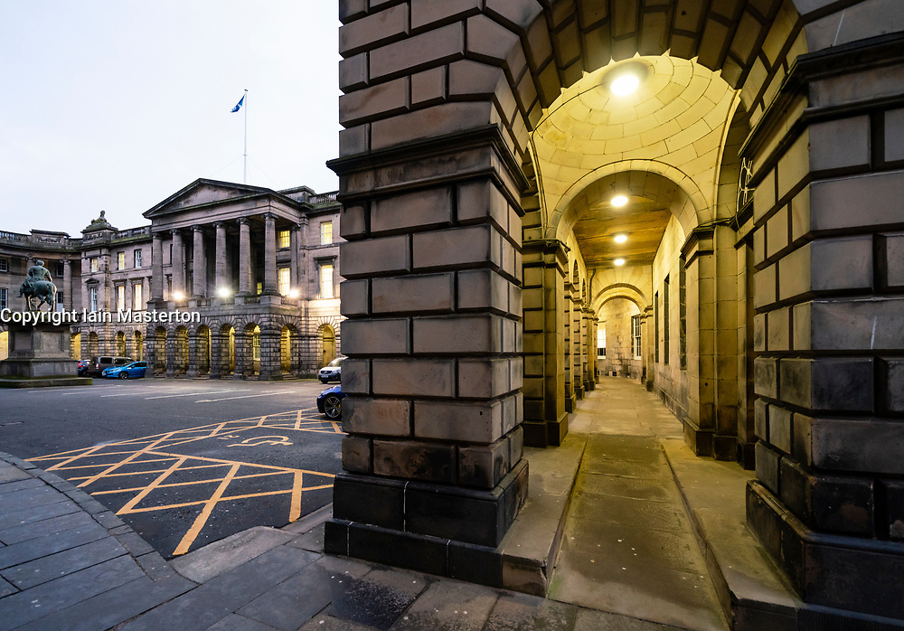 Exterior view of Parliament Square and Court of Session in Edinburgh Old Town, Scotland, UK