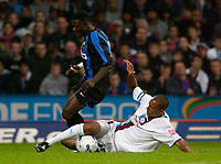 Picture by Daniel Hambury.<br /> 27/07/05.<br /> Crystal Palace v Inter Milan.<br /> Pre Season Friendly.<br /> Palace's Fitz Hall stops Inter's Obafemi Martins.