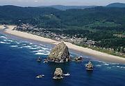 ackroyd-C09657-10a. Cannon Beach, Haystack Rock, April 20, 2000. April 20, 2000.