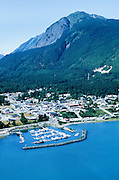Alaska. Haines. Aerial view of shore of Chilcoot Inlet on the Marine Highway.