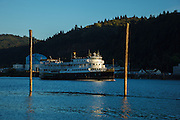 USA, Oregon, Portland, Cathedral Park, a boat on the Willamette River.
