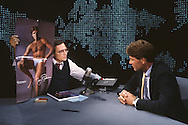 Larry King interviewing Jim Palmer on the Larry King show in 1985..Photograph by Dennis Brack  bb26