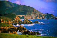 Looking south to the Bixby Bridge (714 feet high), Highway One, near Big Sur, Monterey County, California