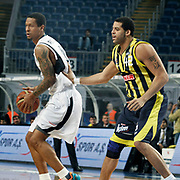 Efes Pilsen's Lawrence ROBERTS (L) and Fenerbahce Ulker's Sean Gregory MAY (R) during their Turkish Basketball league derby match Efes Pilsen between Fenerbahce Ulker at the Sinan Erdem Arena in Istanbul Turkey on Sunday 24 April 2011. Photo by TURKPIX