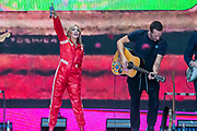 Kylie plays the Pyramid Stage to a small, reflective but generally appreciative crowd - The 2019 Glastonbury Festival, Worthy Farm, Glastonbury.