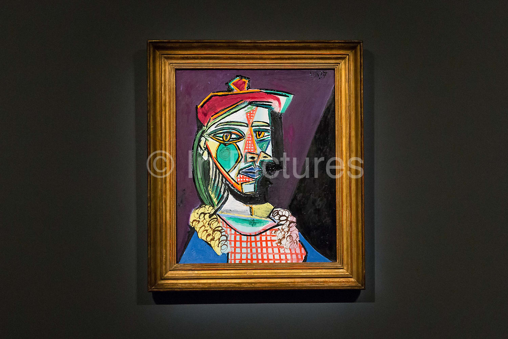Femme Au Beret Et a La Robe Quadrillee - Marie-Therese Walter, by Pablo Picasso is displayed, on February 22nd, 2018 at the preview for Sothebys upcoming Impressionist, Modern and Surrealist Art auction at Sothebys in New Bond Street, London, England.