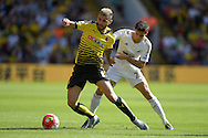 Valon Behrami of Watford blocking the ball from Jack Cork of Swansea City. Barclays Premier League, Watford v Swansea city at Vicarage Road in London on Saturday 12th September 2015.<br /> pic by John Patrick Fletcher, Andrew Orchard sports photography.