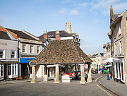 Historic buttercross building in the marketplace at the centre of the town of Chippenham, Wiltshire, England