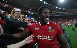 British and Irish Lions Maro Itoje celebrates after the second test of the 2017 British and Irish Lions tour at Westpac Stadium, Wellington.