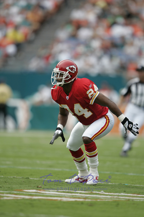 KC Chiefs Ty Law plays in a game against the Miami Dolphins.<br /> (Tom DiPace)