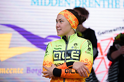 Chloe Hosking waits on the podium after her third place finish at Drentse 8 van Westerveld 2018 - a 142 km road race on March 9, 2018, in Dwingeloo, Netherlands. (Photo by Sean Robinson/Velofocus.com)