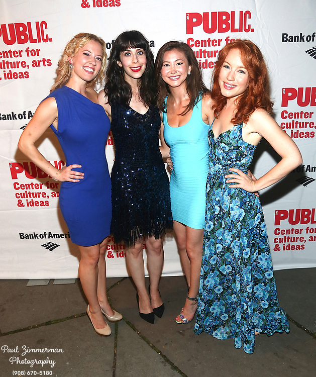 """NEW YORK, NY - AUGUST 12:  (L-R) Patti Murin, Audrey Lynn Weston, Kimiko Glenn and Maria Thayer attend the opening night of """"Love's Labour's Lost"""" at the Delacorte Theater on August 12, 2013 in New York City.  (Photo by Paul Zimmerman/WireImage)"""