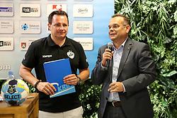 Rado Mulej and Iztok Verdnik at Press Conference of RK Krim Mercator at start of the season 2018/19, on August 16, 2018 in Mercator Siska, Ljubljana, Slovenia. Photo by Matic Klansek Velej / Sportida