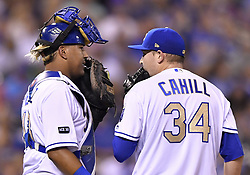 September 8, 2017 - Kansas City, MO, USA - Kansas City Royals catcher Salvador Perez makes a visit to the mound to talk with pitcher Trevor Cahill (34) in the fourth inning against the Minnesota Twins at Kauffman Stadium in Kansas City, Mo., on Friday, Sept. 8, 2017. (Credit Image: © John Sleezer/TNS via ZUMA Wire)