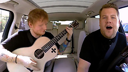 """June 7, 2017 - inconnu - Hit maker Ed Sheeran has revealed an amazing new talent -- being able to stuff more than 50 of his favourite sweets into his mouth.The British ringer songwriter appeared in the Carpool Karaoke spot on the USA's Late Late Show With James Corden.Corden drives celebrities around Los Angeles getting them to sing along ith hits in between interviewing them.At one point , Englishman Corden said he had heard that Sheeran could fit chocolate covered honeycomb 47 Maltesers in his mouth.When the chart topper said that was correct, Corden produced a jar of the sweets from the refrigerated armrest storage of his Range Rover car.Sheeran said he reckoned Corden could probably beat that record.But he warned him:"""" We are going to have to pull up because we are going to chuck up !""""Corden replied:"""" OK, you reckon you can do this ? Let's see if I can beat you.""""""""Is there a knack to this?"""" Sheeran replied:"""" You can probably beat me actually. """"The pair then proceeded to start putting Maltesers into their mouth one at a time, but were not allowed to chew or swallow.Corden seemed to be keeping up with his guest as they threw back their heads and plopped in one Malteser at a time.But when they reached 26, it was too much for Corden who began to retch.He opened the car door and spat most of his mouthful into the road.Ed meanwhile continued to pile the Maltesers in until he reached staggering 55 , cheeks bulging.That was too much even for him and he also had to lean out of the vehicle to spit his mouthful out.Corden said of Sheeran's effort:"""" I don't know how you've done that ! That was insane, Ed !""""Earlier Sheeran had revealed that , despite his lifestyle, he had ditched his mobile phone and the internet to bring a semblance of normality back to his life and encouraged Corden to follow his example.The only modern day communication he currently uses is email.He explained:â�"""