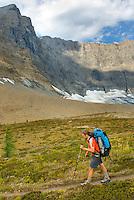 Backpacker at the Rockwall, Kootenay National Park British Columbia Canada,