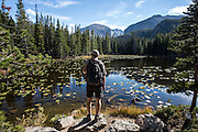 The delightful Nymph Lake in Rocky Mountain National Park