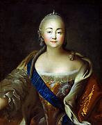 Portrait of Empress Elizabeth Petrovna'. Ivan Argunov (1727-c1829) Russian painter. Elizabeth (1709-1762) Empress of Russia from 1741, daughter of Peter the Great.   Half-length Frontal Female Gem Jewel Diamond Lace Royalty