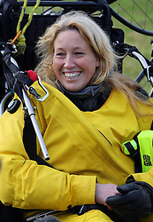 Paramotorist Sacha Dench the 'Human Swan' arrives in Dover after crossing the Channel from France on her 3 month 7,000km trip following the migration route of BewickÕs swans from the Russian tundra to Gloucestershire.
