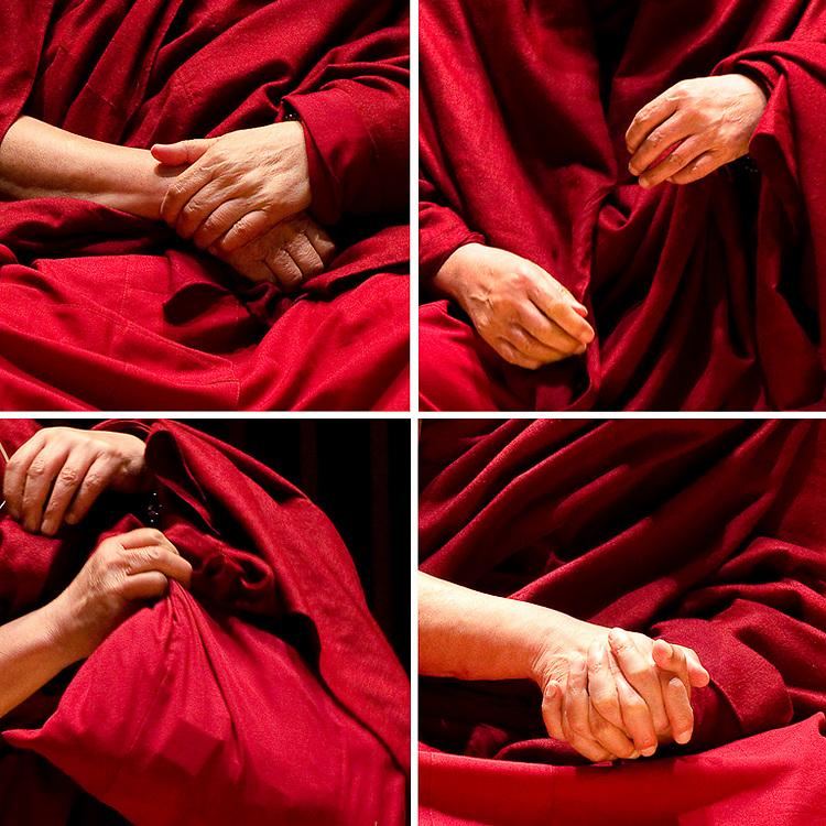 The Daila Lama's hands, during his Atlanta visit on Emory campus, 2013.