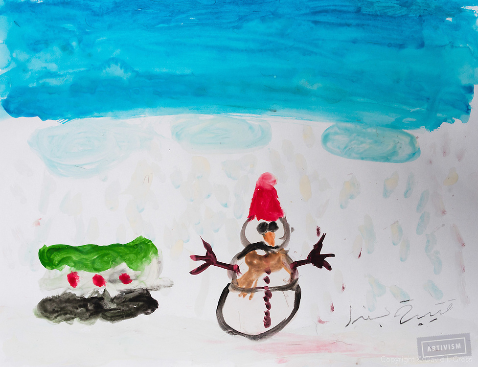 A snowman and the Free Syrian flag.Drawing by 10-12 yr old boy, from art session with the neighborhood boys--not from the school. Topic for session: what do you dream about or hope for?
