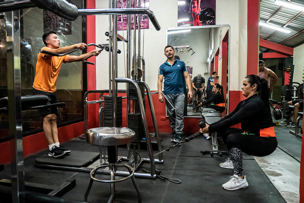 Local citizens workout at the gym