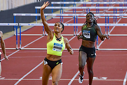 July 20, 2018 - Monaco, France - 100 metres haies feminin - Queen Harrisson (Etat Unis) - Dawn Harper Nelson  (Credit Image: © Panoramic via ZUMA Press)