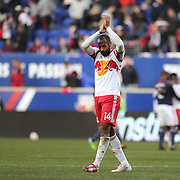Thierry Henry, New York Red Bulls, salutes the crowd at Red Bull Arena for possibly the last time as he leaves the field after his sides 2-1 loss during the New York Red Bulls Vs New England Revolution, MLS Eastern Conference Final, first leg at Red Bull Arena, Harrison, New Jersey. USA. 23rd November 2014. Photo Tim Clayton