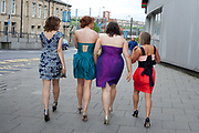 Grace Meehan, 17, and friends from Whitley Bay High School, prepare to celebrate their leaving prom at the Life conference centre, Newcastle. In recent years American style prom nights to celebrate graduation from high School have been gaining popularity in the UK. These pictures are part of a set  <br /> commissioned for the Times magazine that  look at this teenage rite of passage across three schools in the UK.