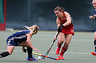 Beth Bingham of Wales ® & Khrystsina Mitskevich of Belarus (l).  Belarus v Wales, EuroHockey 11 Women's championshp 2017 in Cardiff, South Wales , Wednesday 9th August 2017<br /> pic by Andrew Orchard