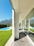 Modern villa with pool, view from the porch