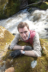 Historian Ashley Cowie pictured the River North Esk below the Roslin Castle. He is doing a seven part series for The Scottish Sun on Scotland's treasure hunts at the end of April..©Michael Schofield..
