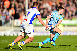 Joe Simmonds of Exeter Chiefs is marked by Baptiste Delaporte of Castres Olympique - Mandatory by-line: Ryan Hiscott/JMP - 13/01/2019 - RUGBY - Sandy Park Stadium - Exeter, England - Exeter Chiefs v Castres - Heineken Champions Cup