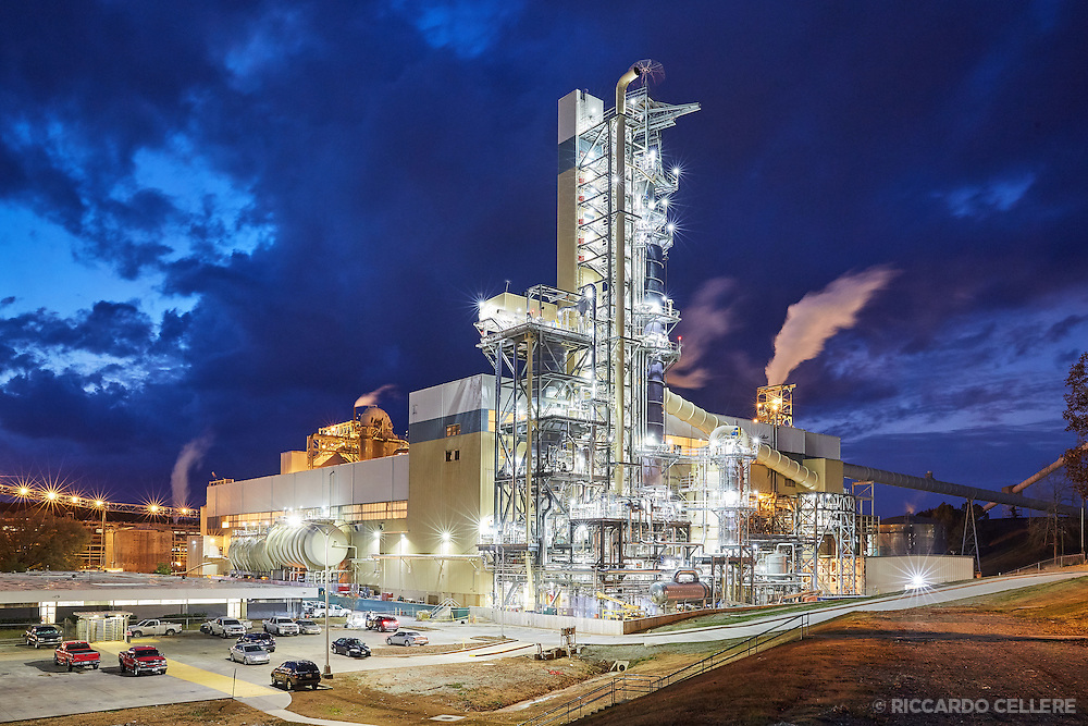 Industrial photography. A paper mill against the backdrop of a dramatic night sky. 2016.