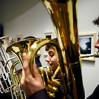 121413  Adron Gardner/Independent<br /> <br /> Live tuba music greets guests to the opening of the Grants High School Performing Arts Center in Grants Saturday.